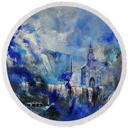 Dinant In Blue Round Beach Towel
