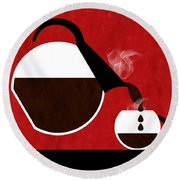 Diner Coffee Pot And Cup Red Pouring Round Beach Towel