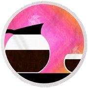 Diner Coffee Pot And Cup Sorbet Round Beach Towel