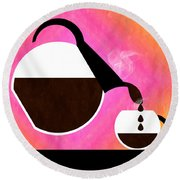 Diner Coffee Pot And Cup Sorbet Pouring Round Beach Towel