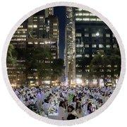 Diner En Blanc New York 2013 Round Beach Towel