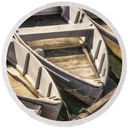 Dinghies Dockside Faded Round Beach Towel