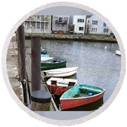 Dinghies Wait At The Pier Round Beach Towel