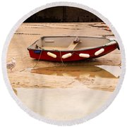 Dinghy At Low Tide In St Ives Cornwall Round Beach Towel