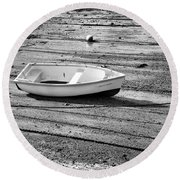 Dinghy At Low Tide Round Beach Towel