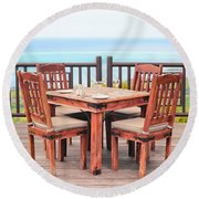 Dining Table Round Beach Towel by Tom Gowanlock