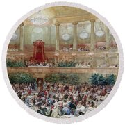 Dinner In The Salle Des Spectacles At Versailles Round Beach Towel