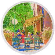 Dinner On The Terrace Le Murphy Boire Et Manger French Bistro Montreal Cafe Street Scene Round Beach Towel