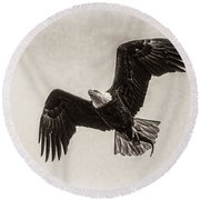 Dinner Time Black And White Round Beach Towel