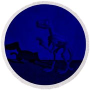 Dino Dark Blue Round Beach Towel