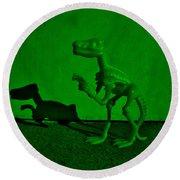 Dino Dark Green Round Beach Towel
