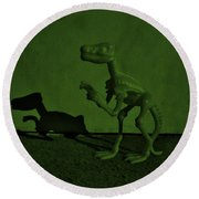 Dino Dark Olive Round Beach Towel