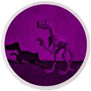 Dino Dark Purple... Barney Round Beach Towel