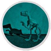 Dino Dark Turquoise Round Beach Towel