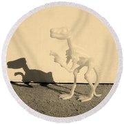 Dino Sepia Round Beach Towel