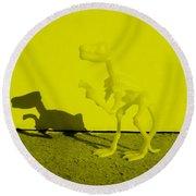 Dino Yellow Round Beach Towel