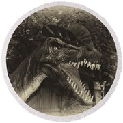 Dino's At The Zoo Come Here Cameraman In Heirloom Finish Round Beach Towel