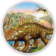 Dinosaur Panorama Round Beach Towel