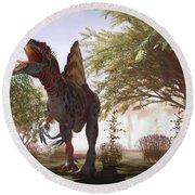 Dinosaur Spinosaurus Round Beach Towel