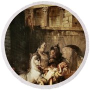 Diomedes Devoured By His Horses Round Beach Towel