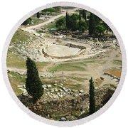 Dionysus Amphitheater Round Beach Towel
