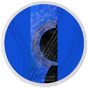 Diptych Wall Art - Macro - Blue Section 1 Of 2 - Giants Colors Music - Abstract Round Beach Towel