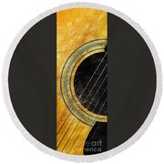 Diptych Wall Art - Macro - Gold Section 1 Of 2 - Vikings Colors - Music - Abstract Round Beach Towel