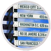 Direction Signs Round Beach Towel