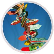 Directions Signs Round Beach Towel