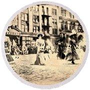 Directoire Gown - Philadelphia Mummers 1909 Round Beach Towel