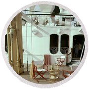 Directors Chairs In Front Of The Ship The Queen Round Beach Towel
