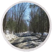 Dirt Road In March Round Beach Towel