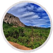 Dirt Roads And Aspen Forest In Colorado Round Beach Towel
