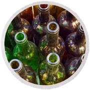 Dirty Bottles Round Beach Towel by Carlos Caetano