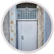 Dirty Metal Door Round Beach Towel