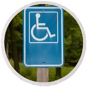 Disabled Parking Sign Round Beach Towel