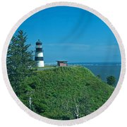 Disappointment Lighthouse In Washington State Round Beach Towel