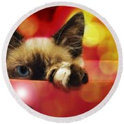 Disco Kitty 1 Round Beach Towel