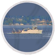 Discovery Bay Military Ops Ship Round Beach Towel