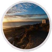 Discovery Park Lighthouse Sunset Round Beach Towel