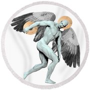 Discus Thrower Angel Round Beach Towel