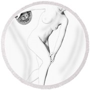 Discus Thrower Exquisite Round Beach Towel