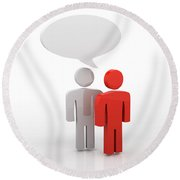 Discussion Blank Speech Bubbles Round Beach Towel by Michal Bednarek