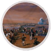 Disembarkation - Kerch, 24 May 1855 Round Beach Towel