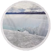 Disintegrating Candelized Melting Ice On Lake Shore Round Beach Towel