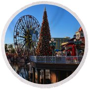 Disney California Adventure Christmas Round Beach Towel