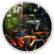 Disney Epcot Japanese Koi Pond Round Beach Towel