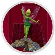 Disney Floral Tinker Bell 01 Round Beach Towel by Thomas Woolworth