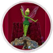 Disney Floral Tinker Bell 02 Round Beach Towel by Thomas Woolworth