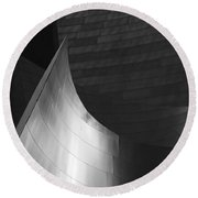 Disney Hall Abstract Black And White Round Beach Towel by Rona Black
